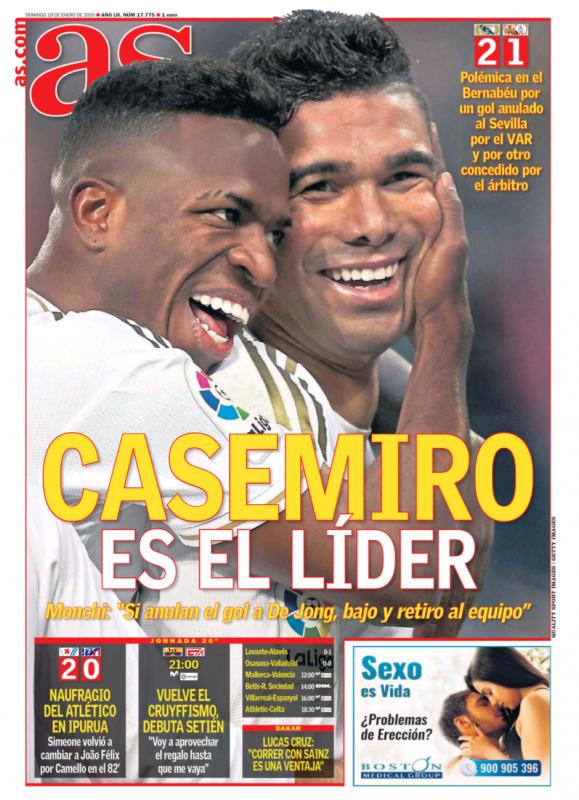 リーガ第20節セビージャ戦翌日AS紙一面:CASEMIRO ES EL LÍDER(カゼミーロはリーダーだ)