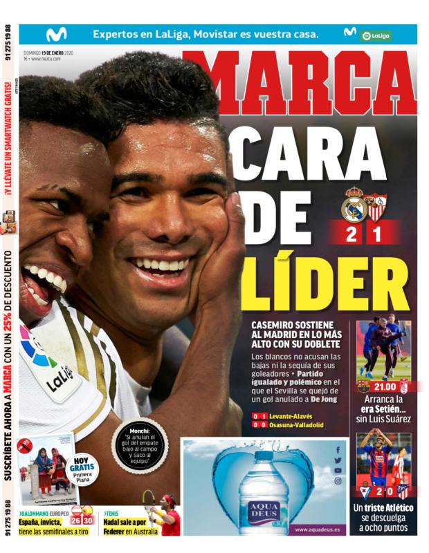 リーガ第20節セビージャ戦翌日MARCA紙一面:CARA DE LÍDER(リーダーの顔)