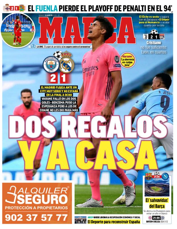 チャンピオンズリーグ・ラウンド16第2戦マンチェスター・シティ戦翌日MARCA紙一面:DOS REGALOS Y A CASA(2つのプレゼント、そして自宅へ)