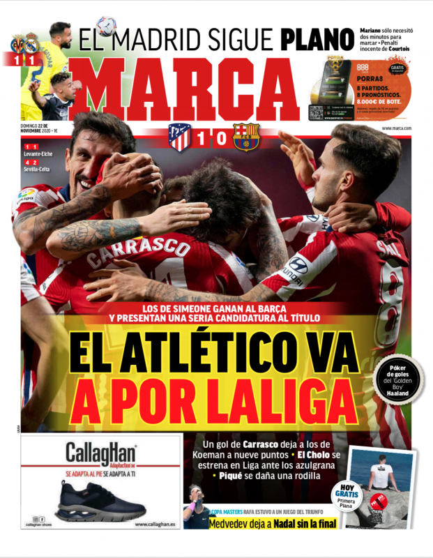 リーガ第10節ビジャレアル戦翌日MARCA紙一面:EL MADRID SIGUE PLANO(マドリーは不活発な状態が続く)